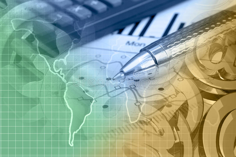 Financial background. With map, calculator, graph and pen, toned stock photography