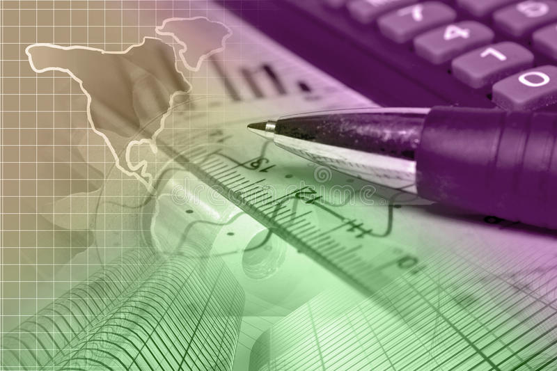 Financial background. With map, calculator, graph and pen, toned royalty free stock photos