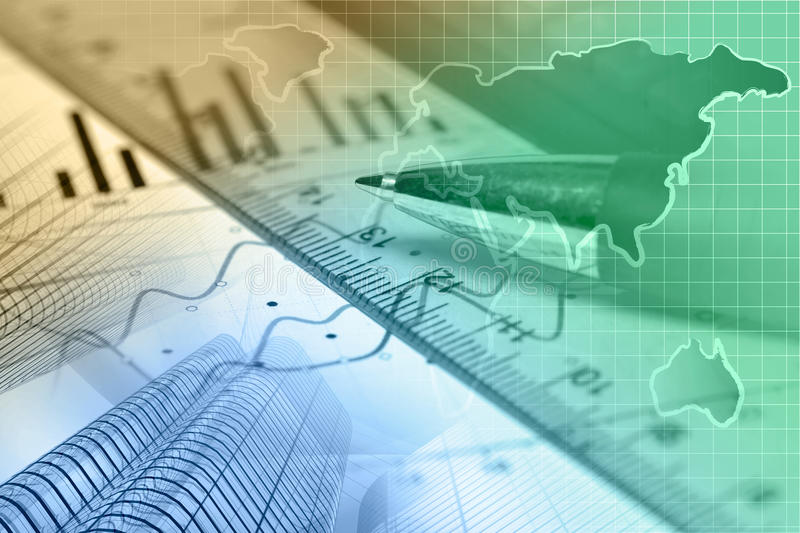 Financial background. With map, ruler, graph and pen, toned royalty free stock images