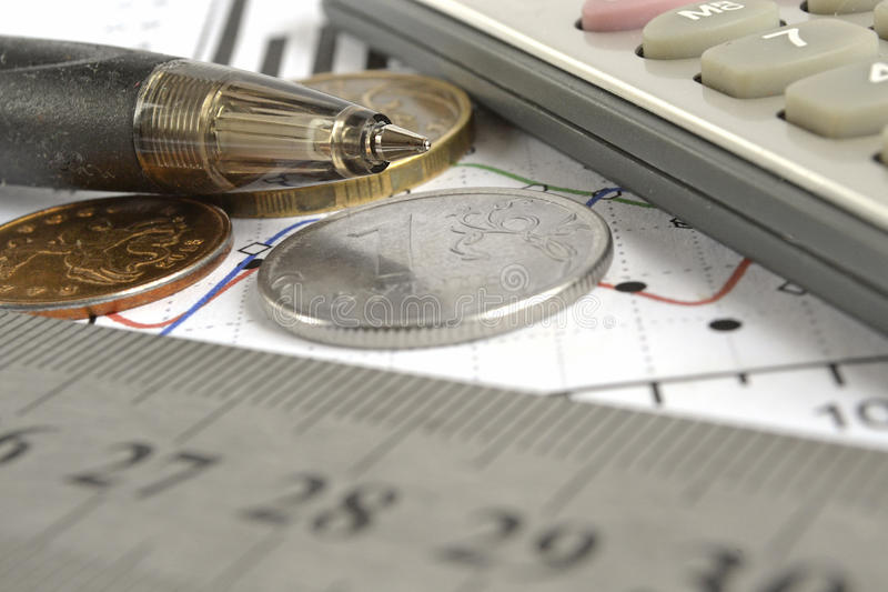 Financial background. With money, calculator, graph and pen stock image