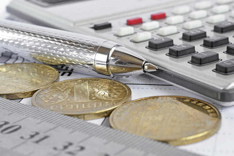 Financial background. With money, calculator, graph, ruler and pen royalty free stock image