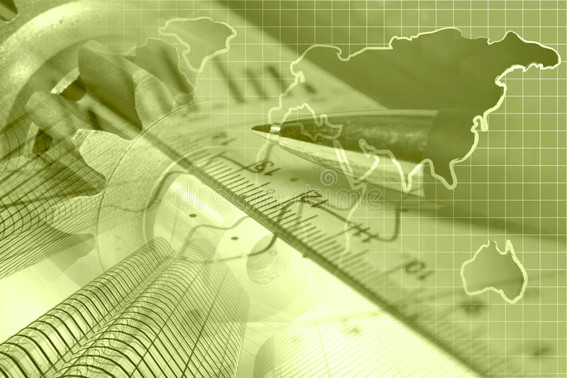Financial background. In sepia with map, buildings, graph and pen royalty free stock photos
