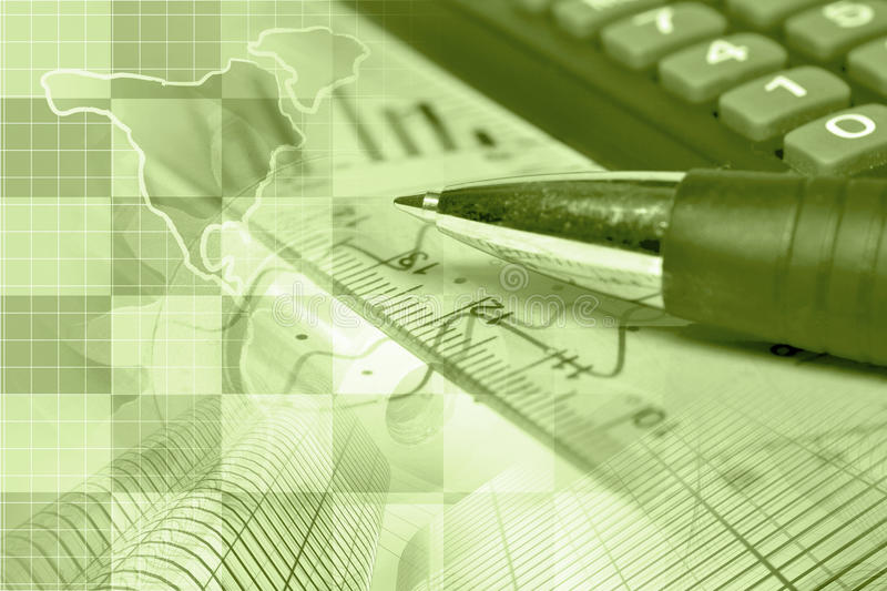 Financial background. In sepia with map, calculator, graph and pen stock photo