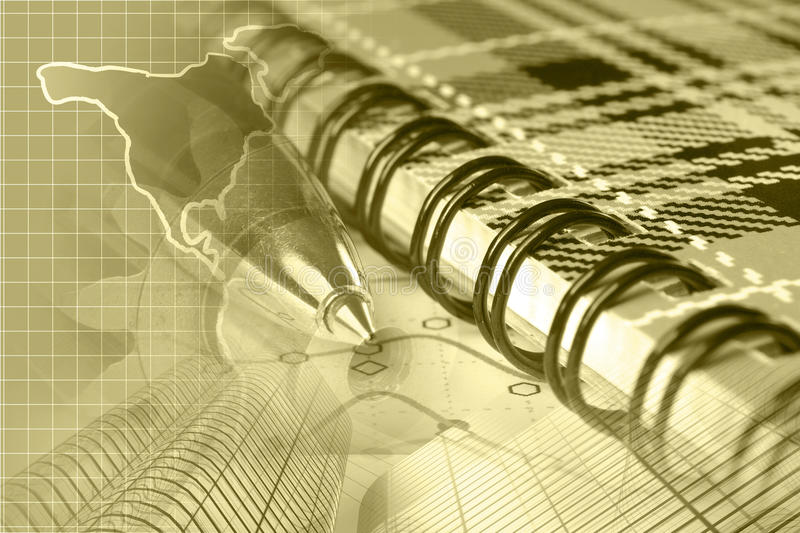 Financial background. In sepia with map, graph, buildings and pen stock image