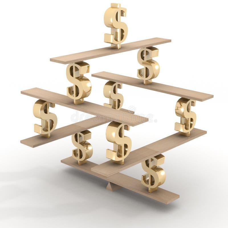 Financial balance. Stable equilibrium. 3D image