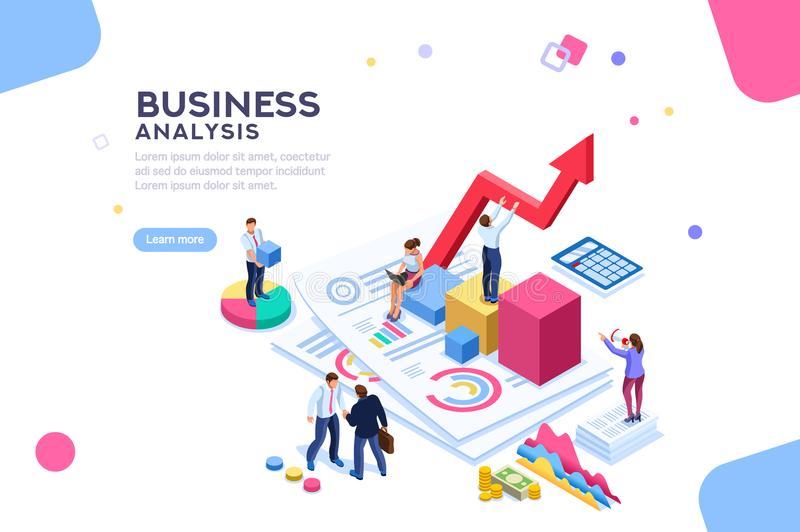 Financial Balance Value Managment Flat Isometric Banner. Balance financial value, management and administration concept. Characters, people engineering a plan royalty free illustration