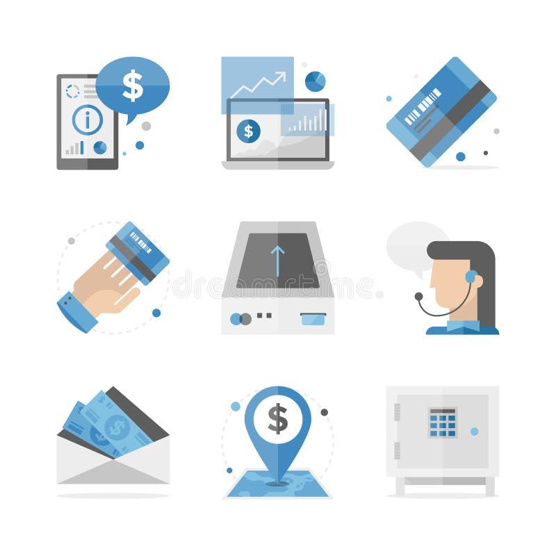 Financial and banking flat icons set royalty free illustration