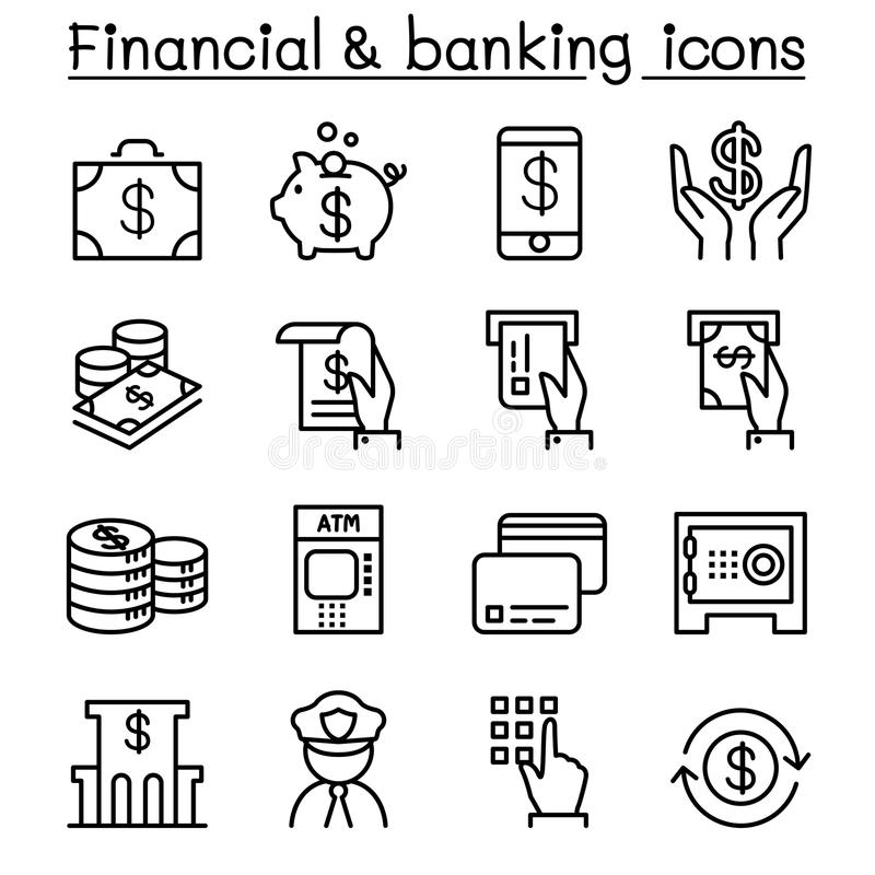 Financial & banking icon set in thin line style royalty free illustration