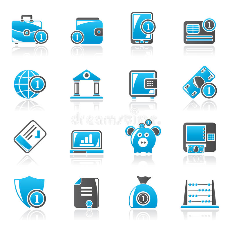 Financial, banking and money icons royalty free illustration