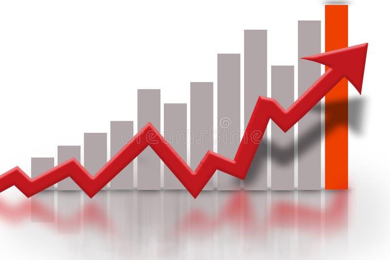 Financial bar graph chart. Financial bar chart showing gray bars and red arrow