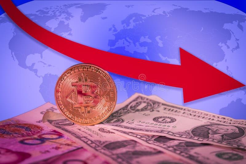 Financial bear market rising concept with golden bitcoin above dollar and yuan bills. Financial bear market falling concept with golden bitcoin above dollar and stock photography