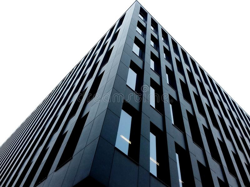 Financial building. Low angle view of a modern architecture building royalty free stock photography