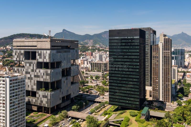 Financial Buildings in Downtown Rio de Janeiro. Aerial view of business buildings in Rio de Janeiro city downtown stock photos