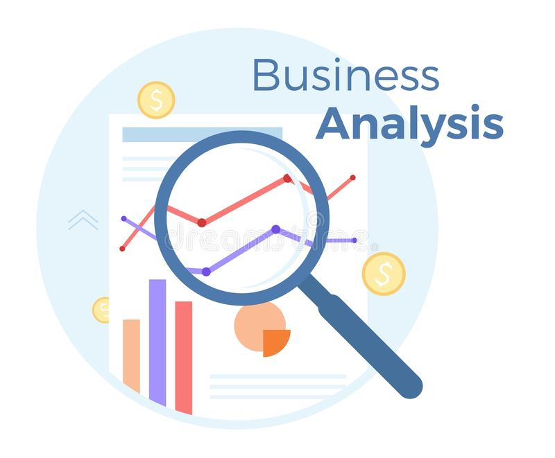 Financial Business analysis vector flat illustration. Concept of accounting, analysis, audit, financial report. Auditing. Tax process. EPS 10 stock illustration