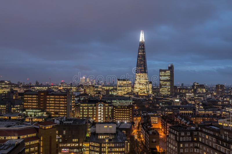 Financial Business Center Cityscape At Night In London, UK. royalty free stock photography