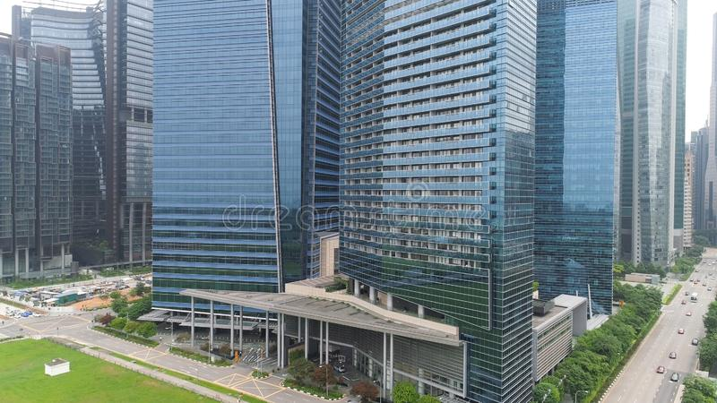 Financial and business centers in asian. Shot. Top View of Skyscrapers in a Big City with development buildings. Transportation, energy power infrastructure royalty free stock photos
