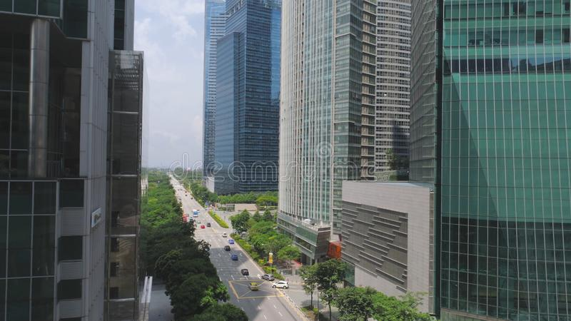 Financial and business centers in asian. Shot. Top View of Skyscrapers in a Big City with development buildings. Transportation, energy power infrastructure royalty free stock image