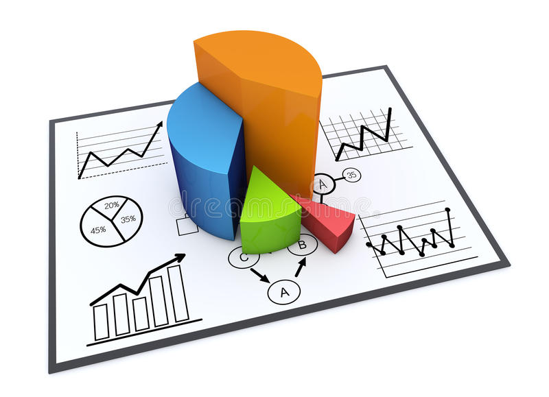 Chart and graphs. Financial and business chart and graphs stock illustration