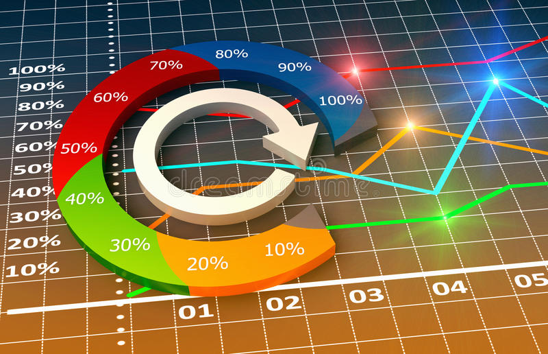 Chart and graphs. Financial and business chart and graphs royalty free illustration