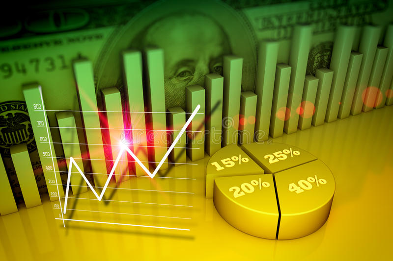 Financial and business concept. Financial and business chart and graphs stock illustration