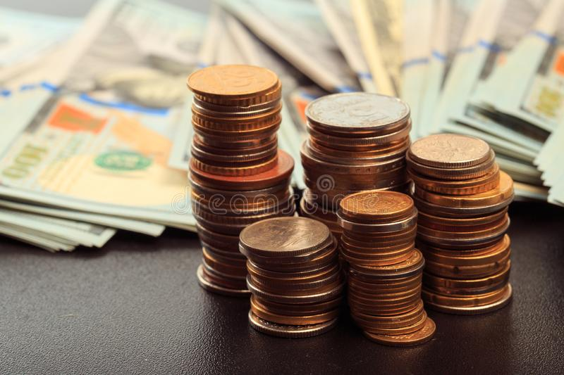 Financial business concept combination with coins, money, calculator and pen stock images