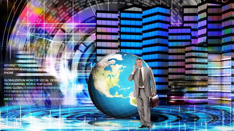 Financial business. Globalization Internet technology vector illustration