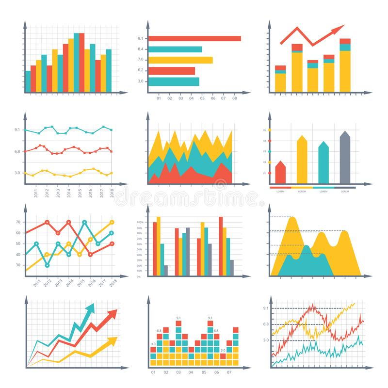 Financial business graphics and diagram set in vector style. Infographic illustrations. Colored chart and graphic, diagram and graph vector illustration