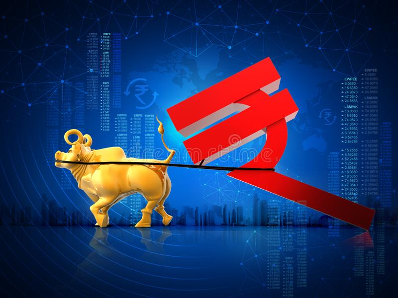 Financial, business growth, success concept, Golden bull dragging Indian rupee symbol, 3D rendering abstract blue background. Financial business growth success stock illustration