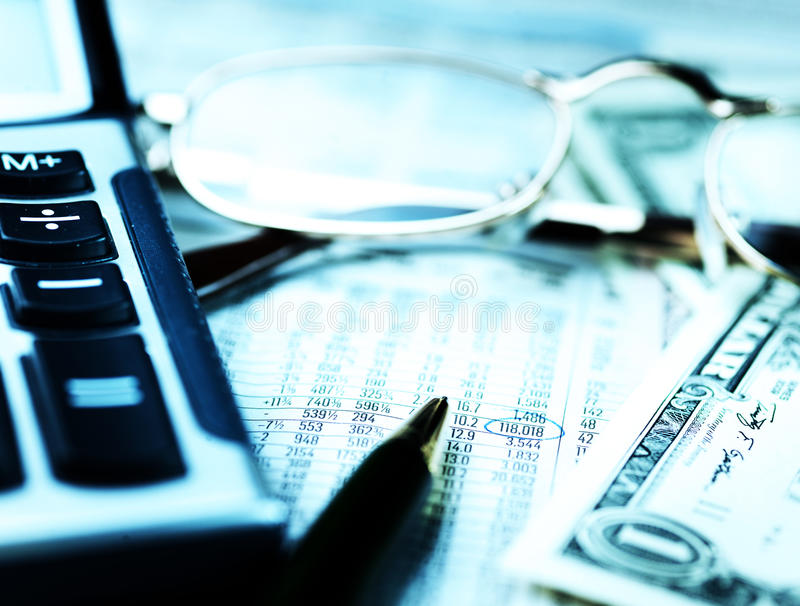 Financial business planning. With figures and calculator stock image