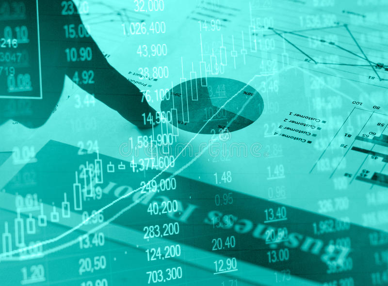 Financial business report paper charts and stock market investment graphs with hand stock photos