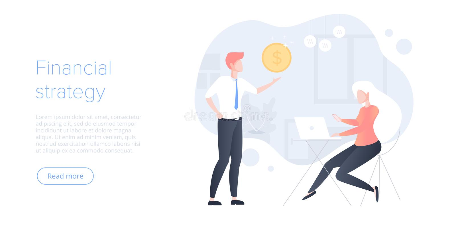 Financial business strategy flat vector illustration. Young businessman doing data analytics for company marketing solutions or. Successful performance. Budget stock illustration