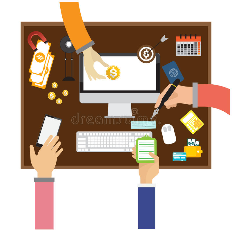 Financial and business teamwork hand arm working on a desk. Financial and business teamwork with hand arm working on a desk Vector stock illustration