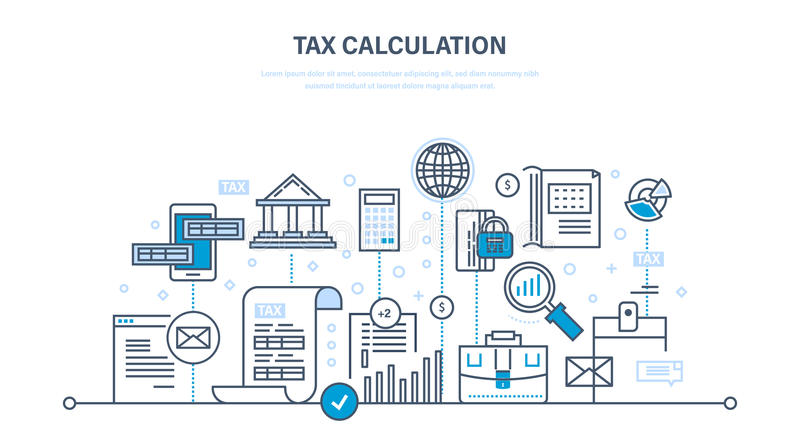 Financial calculations, counting profit, income, taxes, data analytics, planning, report. Financial calculations, counting profit, income, taxes, research royalty free illustration