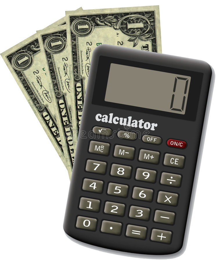 The financial calculator. The financial calculator and three dollars. It is isolated on a white background vector illustration