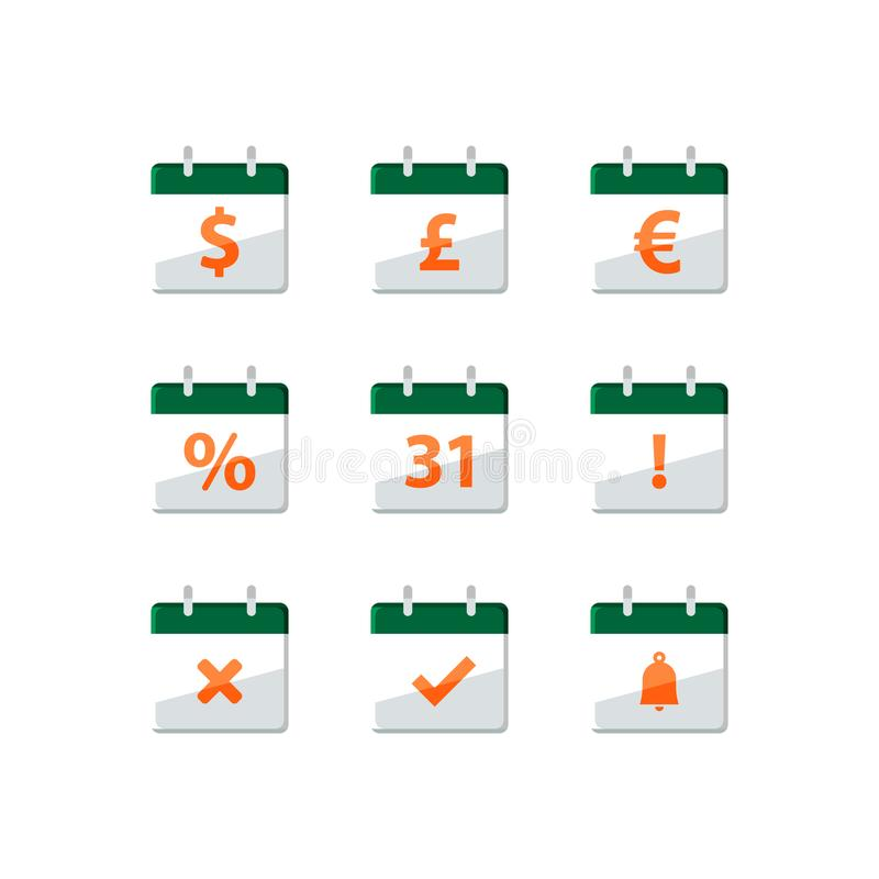 Fiscal year, financial calendar, dollar sign, monthly income, appointment day, last day of the month, vector icons. Financial calendar, dollar sign, deadline vector illustration