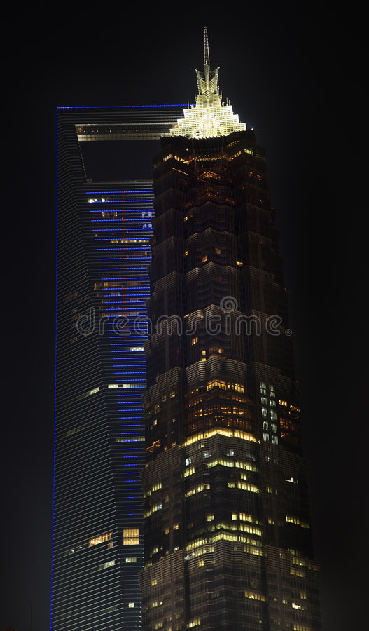 Financial Center Jinmao Skyscrapers Shanghai. World Financial Center Jinmao Tower Skyscrapers at Night Shanghai China stock image