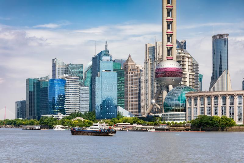 The financial center of Shanghai, Pudong, with modern skyscrapers and buildings stock photos