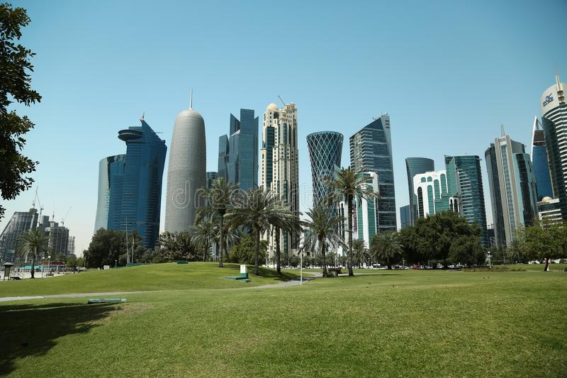 Financial centre in Doha city, Qatar. QATAR, DOHA, MARCH 20, 2018: Financial centre of Doha - capital and most populous city in Qatar, West Bay, Persian Gulf royalty free stock photos