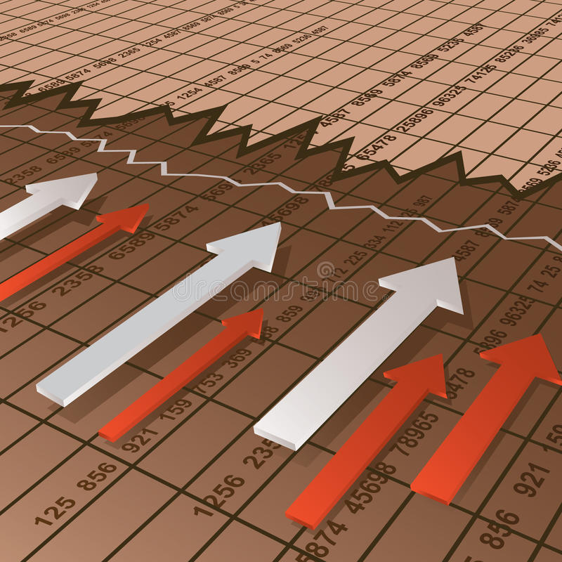 Financial chart. Background with arrows stock illustration