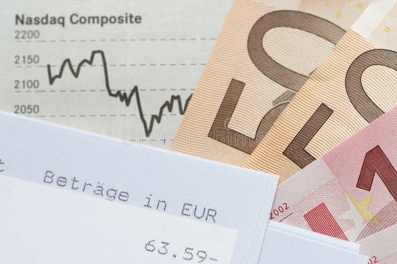Financial Chart, Account statement and Euros stock photo