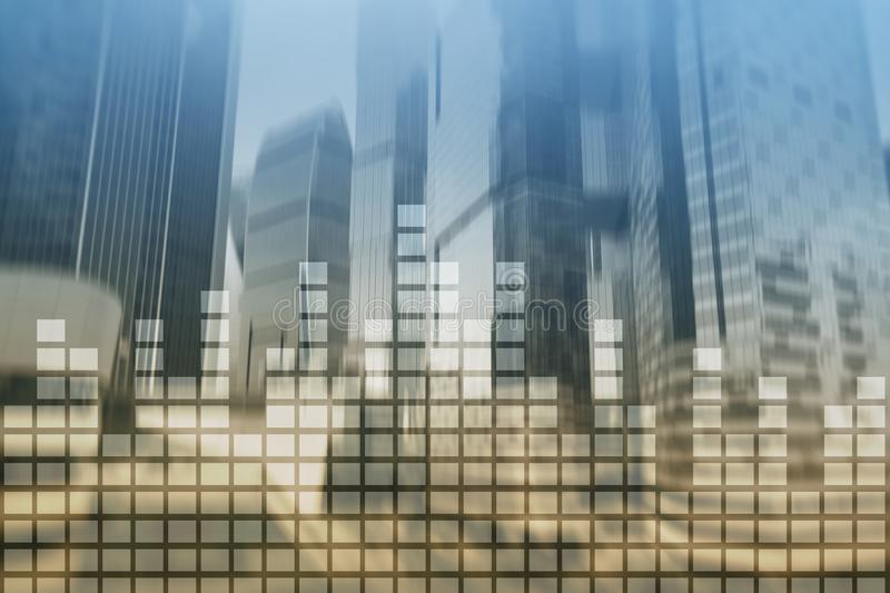 Financial graphs and charts on blurred business center background. Invesment and trading concept. Financial chart on blurred skyscraper office background stock photo