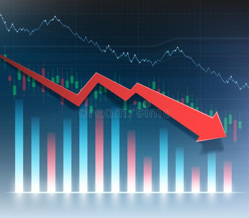 Financial chart with red arrow down. Graph of economic recession royalty free illustration