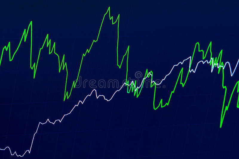 Financial chart with two simple lines on blue background royalty free stock images