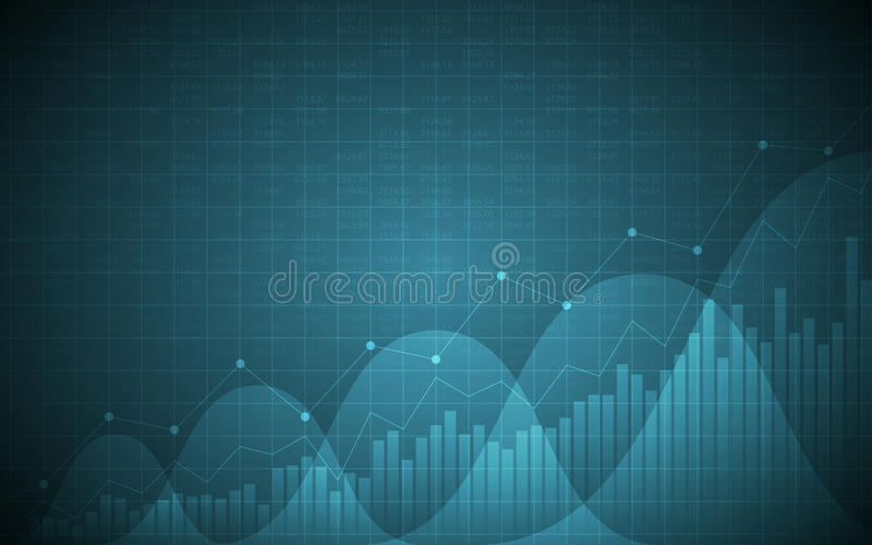 Financial chart with uptrend line graph, bar chart and stock numbers on gradient blue color background. Financial chart with uptrend line graph, bar chart and stock illustration