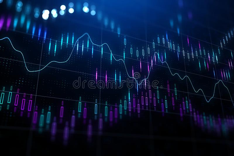 Abstract forex graphs. Financial chart with various indicators and graphs at abstractl dark backgound. 3D render vector illustration
