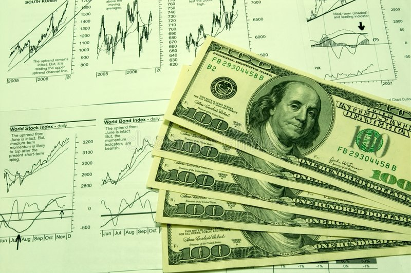 Financial Charts And US Dollar #3 Royalty Free Stock Photography