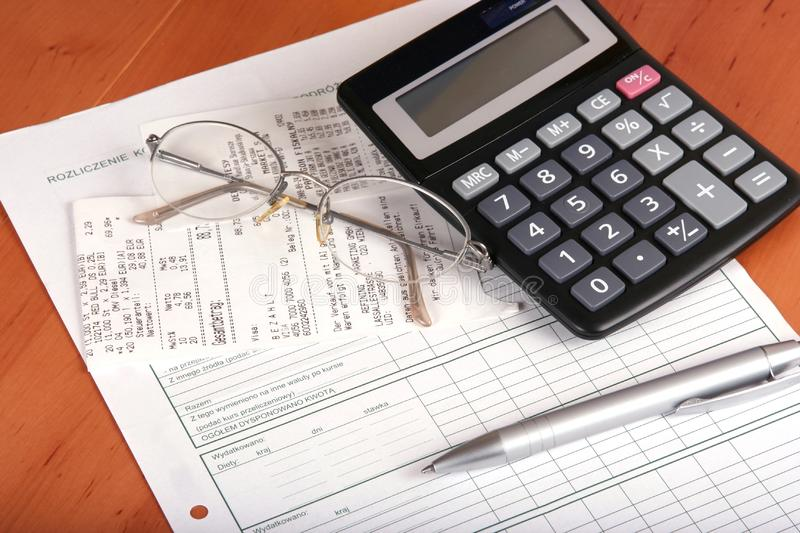 Financial concept with calculator stock images