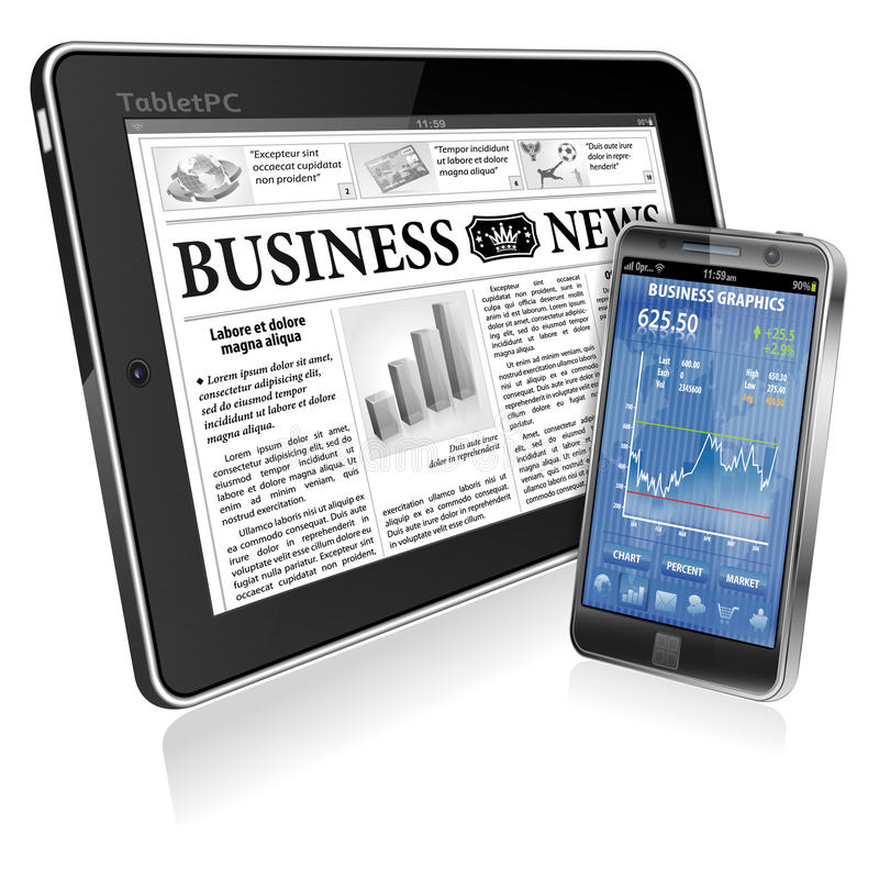 Financial Concept - Make Money on the Internet. Financial Concept with Business Newspaper on screen Tablet PC and Smartphone with Stock Market Application royalty free illustration