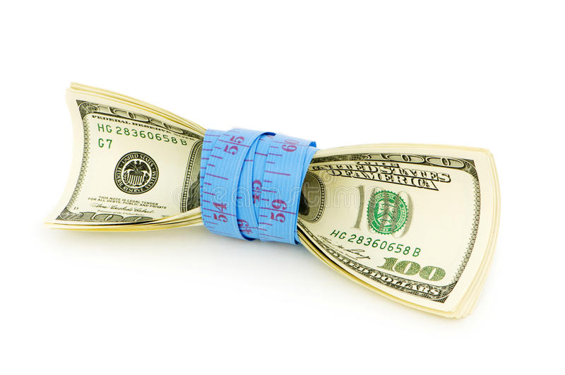Financial concept - measuring money royalty free stock photo