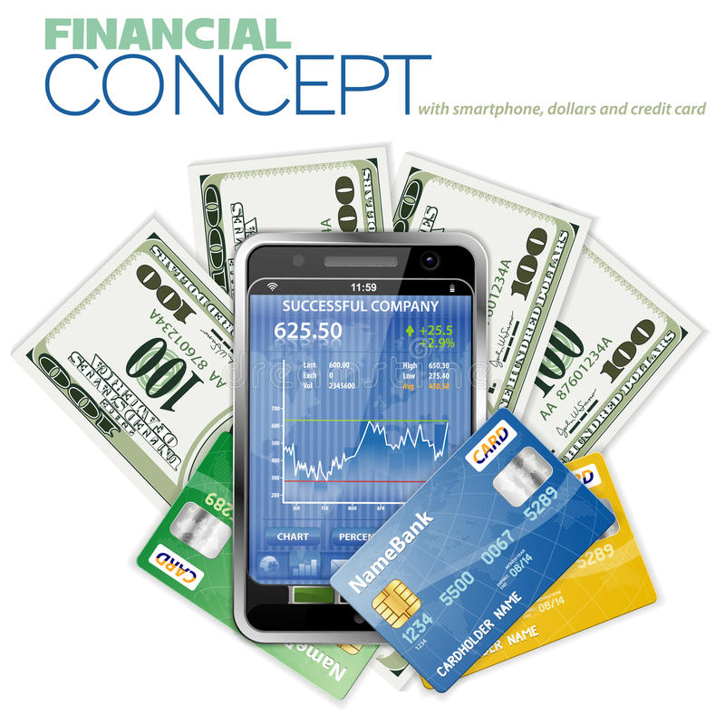 Download Financial Concept With Touchphone And Dollar Stock Vector - Illustration: 23426106